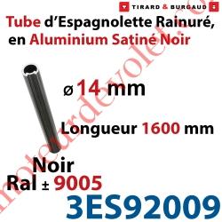 Tube d'Espagnolette ø 14mm Rainuré Longueur 1 600mm en Aluminium Laqué Noir Satiné ± Ral 9005