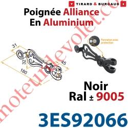 Poignée d'Espagnolette Alliance en Aluminium Laqué Noir ± Ral 9005 Avec Tampon de Protection