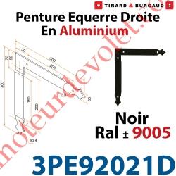 Penture Equerre Réglable 300x300mm Droite en Plat Aluminium de 35x4mm Percée de 4 Trous Diamètre 5mm Laqué Noir ± Ral 9005