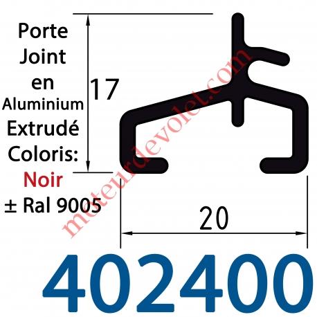 Lame Finale Aluminium Porte Joint 17 x 20 mm Coloris ± Ral 9005 Noir