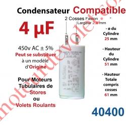 Condensateur Compatible pour Moteur Tubulaire de Store ou Volet Roulant à Cosses Faston 2,8 mm Capacité 4µF ±5% 400-450v