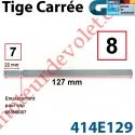 Tige Carré de 8 Lg Tot 127 Décoletée Carré de 7 sur 22 mm Taraudée dans l'axe à