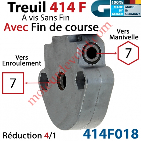 Treuil à Vis sans Fin 414F Manœuvre Hexa 7 Femelle Sortie Carré 7 Femelle Avec FdC