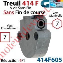 Treuil à Vis sans Fin 414F Manœuvre Hexa 7 Femelle Sortie Carré 7 Femelle Sans Fdc