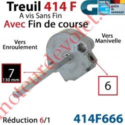 Treuil à Vis sans Fin 414F Manœuvre Carré 6 Femelle Sortie Carré 7 Mâle avec FdC