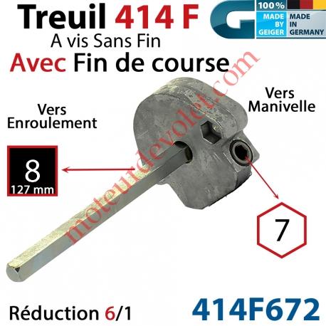 Treuil à Vis sans Fin 414F Manœuvre Hexa 7 Femelle Sortie Carré 8 Mâle