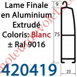 Lame Finale Aluminium 75 x 20 mm Coloris ± Ral 9016 Blanc