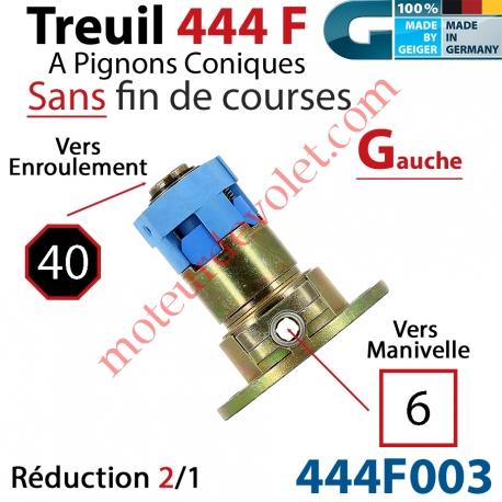 Treuil Débrayable Gauche à Pignons Côniques 444F Entrée Carré 6 Femelle Sortie Octo 40 Mâle Sans FdC