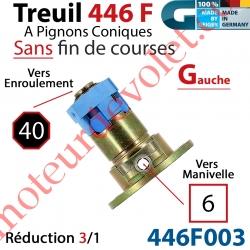 Treuil Débrayable Gauche à Pignons Côniques 446F Entrée Carré 6 Femelle Sortie Octo 40 Mâle Sans FdC