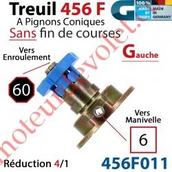 Treuil Débrayable Gauche à Pignons Côniques 456F Entrée Carré 6 Femelle Sortie Octo 60 Mâle Sans FdC