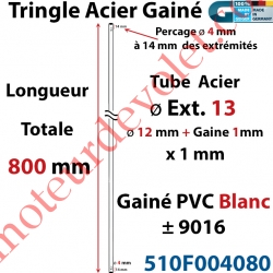 Tringle Acier Gainé Plastique Blanc ø 12+1mm x1 mm Percé pr Goup Geig Lg 800 mm