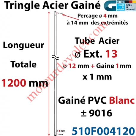 Tringle Acier Gainé Plastique Blanc ø 13 mm Lg 1200 mm