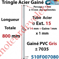 Tringle Acier Gainé Plastique Gris ø 14+1mm x1 mm Percé pr Goup Geig Lg 800 mm