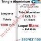Tringle Alu Laqué Blanc ± Ral 9016 ø15 mm x 1,5 mm Percé pr Goup Geig Lg 1000 mm