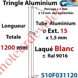 Tringle Alu Laqué Blanc ± Ral 9016 ø15 mm x 1,5 mm Percé pr Goup Geig Lg 1200 mm