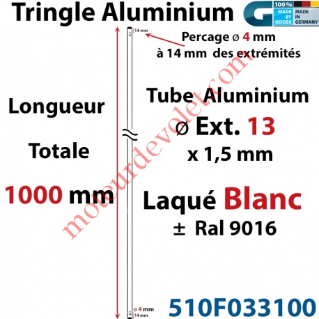 Tringle Alu Laqué Blanc ± Ral 9016 ø13 mm x 1,5 mm Percé pr Goup Geig Lg 1000 mm