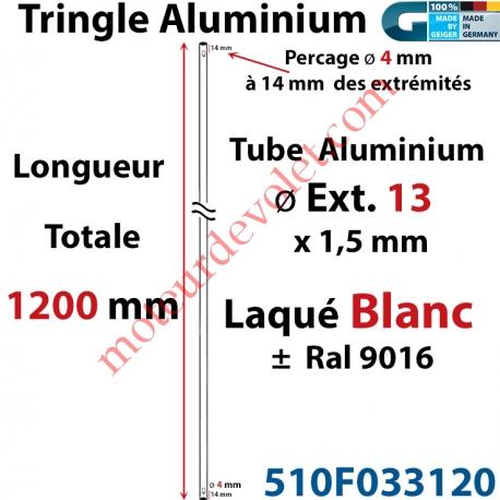 Tringle Alu Laqué Blanc ± Ral 9016 ø13 mm x 1,5 mm Percé pr Goup Geig Lg 1200 mm