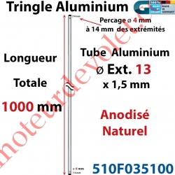 Tringle Alu Anodisé Naturel ø13 mm  x 1,5 mm Percé pr Goupille Geiger Lg 1000 mm