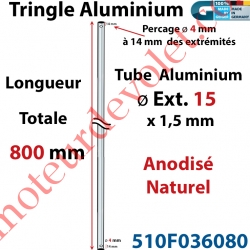 Tringle Alu Anodisé Naturel ø15 mm  x 1,5 mm Percé pr Goupille Geiger Lg 800 mm