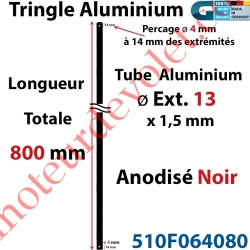 Tringle Alu Anodisé Noir ø13 mm  x 1,5 mm Percé pr Goupille Geiger Lg 800 mm