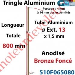 Tringle Alu Anodisé Bronze Foncé ø13 mm  x 1,5 mm Percé pr Goupille Geiger Lg 800 mm