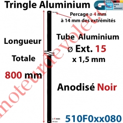 Tringle Alu Anodisé Noir ø15 mm  x 1,5 mm Percé pr Goupille Geiger Lg 800 mm