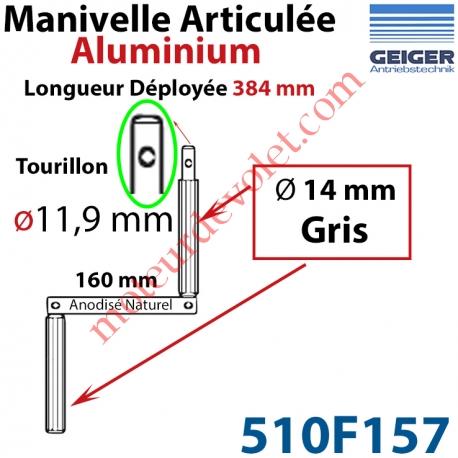 Manivelle Aluminium Bras ø14 mm Lg 160mm Anodisé Naturel Poignées Grises Tourillon ø11,9 Lg Utile 384mm