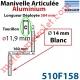 Manivelle Aluminium Bras ø14 mm Lg 160mm Anodisé Naturel Poignées Blanches Tourillon ø11,9 Lg Utile 384mm