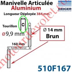 Manivelle Aluminium Bras ø14 mm Lg 160mm Anodisé Bronze Foncé Poignées Brunes Tourillon ø9,9 Lg Utile 384mm