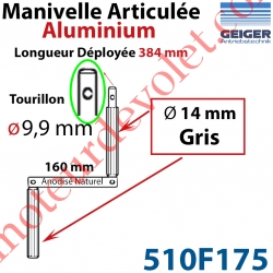 Manivelle Aluminium Bras ø14 mm Lg 160mm Anodisé Naturel Poignées Grises Tourillon ø9,9 Lg Utile 384mm
