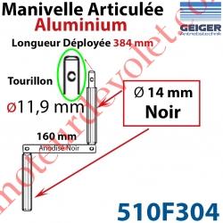 Manivelle Aluminium Bras ø14 mm Lg 160mm Anodisé Noir Poignées Noires Tourillon ø11,9 Lg Utile 384mm