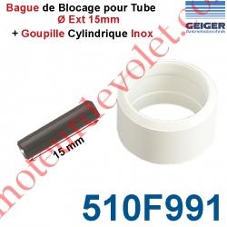 Goupille Cylindrique Inox & Bague de Blocage Blanche pour Tube ø Ext 15 mm