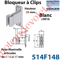 Bloqueur à Clips Prof Fixe de 20 mm pr Tringle Oscillante ø 12 à 17 mm Col Blanc