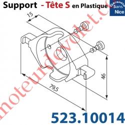 Support Nice Tête S Plastiq Av 2 Vis à Cliper sur Support 525.10052 ou 525.10088