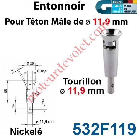 Entonnoir à Tourillon ø 11,9 pour Téton Mâle ø 11,9 mm