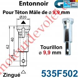 Entonnoir à Tourillon ø 9,9 mm pour Têton mâle ø 9,9 mm