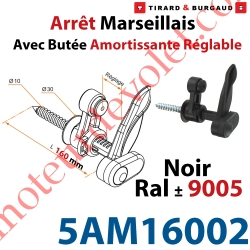 Arrêt Marseillais Tirefond à Visser Lg 160 Matériau Composite Noir ± Ral 9005 Avec Butée Réglable de 5 à 60 mm