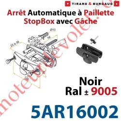 Arrêt à Paillette Automatique StopBox Inoxydable pour Volet d'Epaisseur 22 à 38mm Noir ± Ral 9005 Avec Gâche inox Lg 56mm