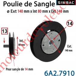 Poulie de Sangle Avec Démultiplicateur de Force 1/2 diamètre 125 mm pour Sangle de Largeur Maxi 14mm