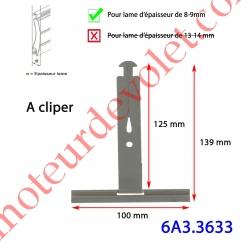 Attache Tablier à Cliper sur Tube avec fentes de 10x2,5 mm Ergot 16 mm Laqué Gris pour Lames de 8-9 mm Long 130 mm