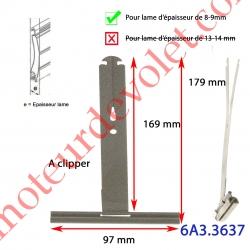 Attache Tablier à Cliper sur Tube avec fentes de 10x2,5 mm Ergot 16 mm Laqué Gris pour Lames de 8-9 mm Long 170 mm