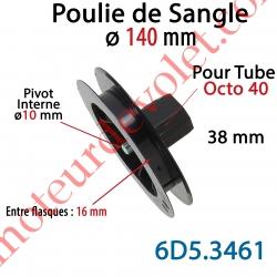 Poulie de Sangle ø 140 mm Emb Octo 40 Lg 38 Entre Flasque 16 Pivot Int ø10