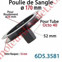 Poulie de Sangle ø 170 Emb Octo 40 Lg 52 Entre Flasque 16 pr Roulement ø 28 mm
