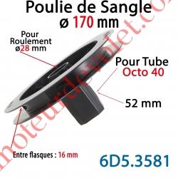 Poulie de Sangle ø 170 Emb Octo 40 Lg 52 Entre Flasque 16 pr Roulement ø 28 mm