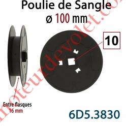 Poulie de Sangle ø 100 mm  Entre Flasques 16 mm Entraînement en Carré de 10 mm