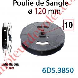 Poulie de Sangle ø 120 mm  Entre Flasques 16 mm Entraînement en Carré de 10 mm