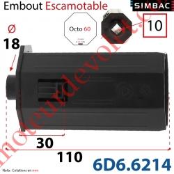 Embout Escamotable de 30 mm Octo 60 Téton ø18 Mâle Alésé en Carré de 10 Femelle
