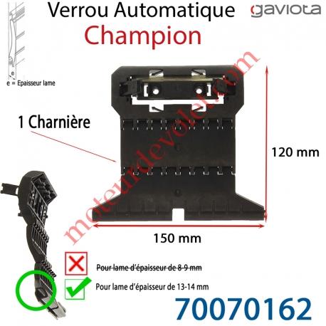 Verrou Automatique Champion d' 1 Charnière pour Lame 13-14 mm d'épaisseur