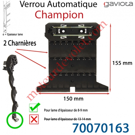 Verrou Automatique Champion de 2 Charnières pour Lame 8-9 mm d'épaisseur