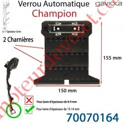Verrou Automatique Champion de 2 Charnières pour Lame 13-14 mm d'épaisseur